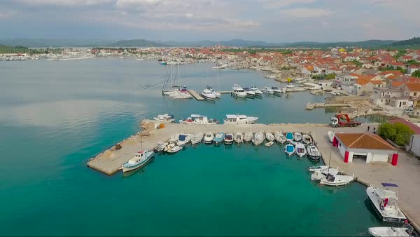 Aerial over a coastal village in Croatia. Royalty-free stock video