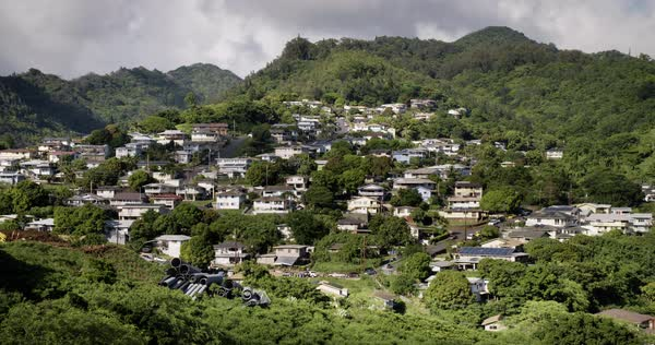 An establishing shot of a suburban Hawaiian neighborhood near Honolulu. Royalty-free stock video