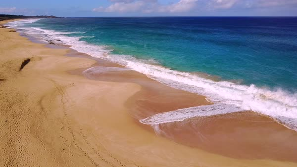 Rising aerial shot over Molokai Hawaii white sand beach and coastline. Royalty-free stock video