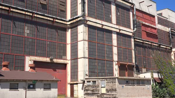 Exterior of an old warehouse or factory. Royalty-free stock video