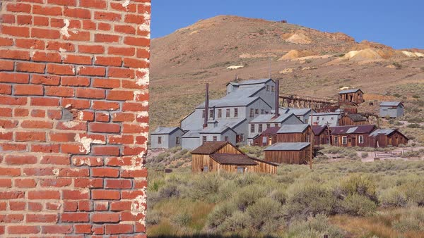 The abandoned silver mine in the ghost town of Bodie, California. Royalty-free stock video