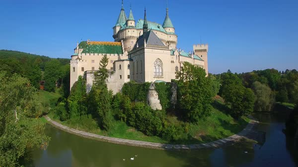A beautiful rising aerial view of the romantic Bojnice Castle in Slovakia. Royalty-free stock video