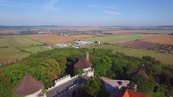 A beautiful aerial view of the romantic Smolnice Castle in Slovakia. Royalty-free stock video
