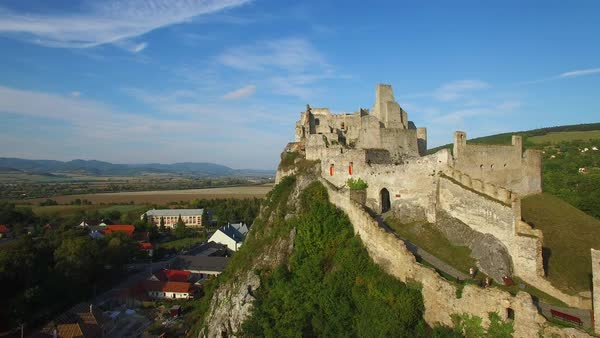 Astonishing aerial view of an abandoned castle ruin on a hilltop in Slovakia. Royalty-free stock video