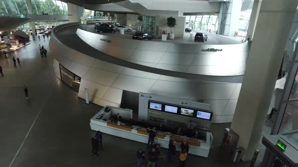Establishing shot of the interior of BMW headquarters in Munich, Germany. Royalty-free stock video
