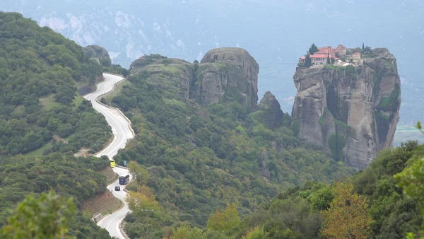 A winding road leads to a remote monastery in Meteora, Greece. Royalty-free stock video