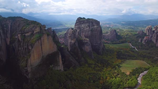 Beautiful aerial over the beautiful rock formations of Meteora, Greece. Royalty-free stock video