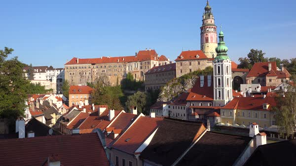 Establishing shot of Cesky Krumlov, a lovely small Bohemian village in the Czech Republic. Royalty-free stock video