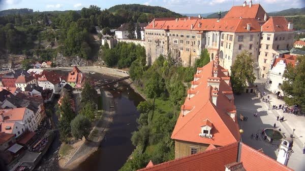 An aerial view of Cesky Krumlov, a lovely small Bohemian village in the Czech Republic. Royalty-free stock video