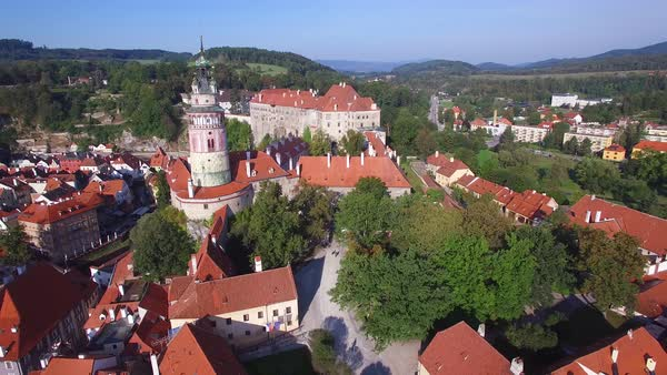 An aerial view above Cesky Krumlov, a lovely small Bohemian village in the Czech Republic. Royalty-free stock video
