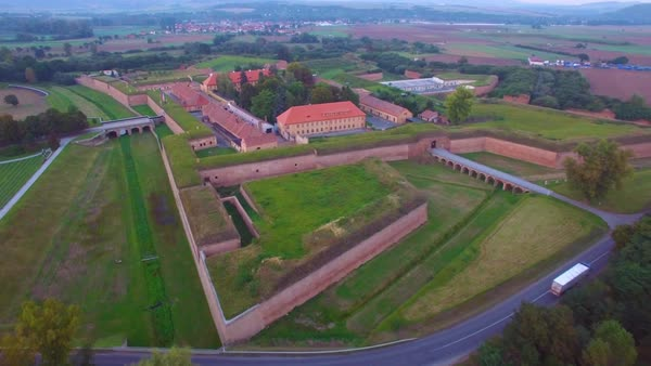 Haunting aerial over the Terezin Nazi concentration camp in Czech Republic. Royalty-free stock video