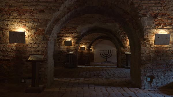 Coffins and a Jewish menorah sit in the darkened crematorium at the Terezin Nazi concentration camp in Czech Republic. Royalty-free stock video