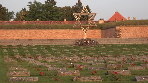 Jewish menorah cemetery memorial at the Terezin Nazi concentration camp in Czech Republic. Royalty-free stock video