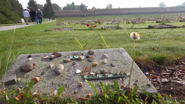 Stones on the graves of a Jewish cemetery memorial at the Terezin Nazi concentration camp in Czech Republic. Royalty-free stock video