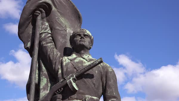 Time lapse shot of old Soviet era statues rusting in Memento Park outside Budapest, Hungary. Royalty-free stock video