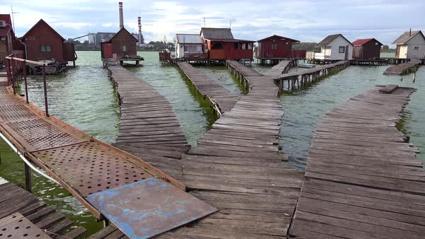 An unusual fishing village features boardwalks in Bokod, Hungary. Royalty-free stock video