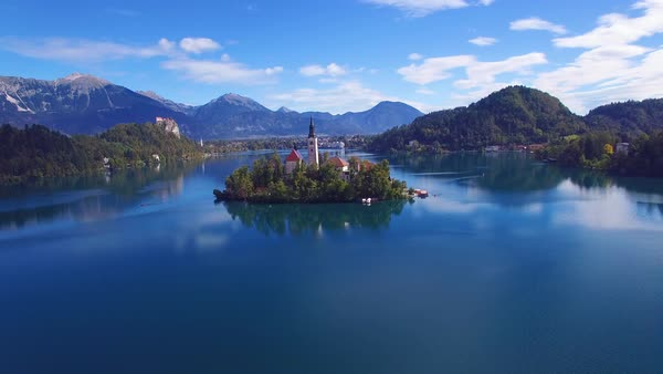 Gorgeous aerial shot flying over Lake Bled and castle, Slovenia. Royalty-free stock video