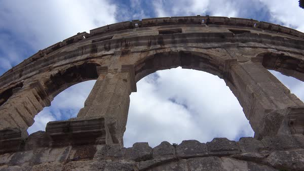 View looking up at the amphitheater in Pula, Croatia. Royalty-free stock video