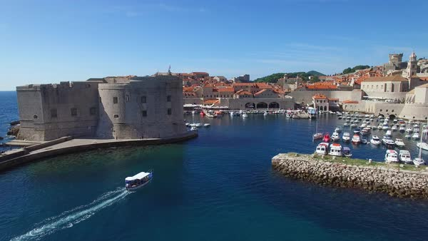 Aerial view over the harbor at the old city of Dubrovnik, Croatia. Royalty-free stock video