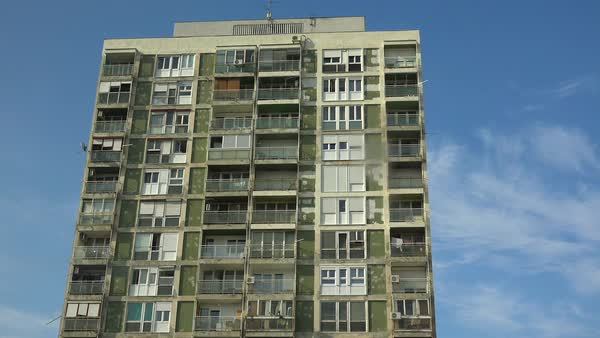 Establishing Shot Of An Old Rundown High Rise Apartment Building Royalty Free Stock Video