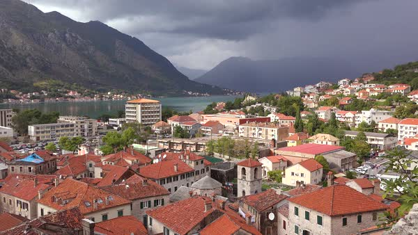 The town of Kotor on the shores of Boka Bay, Montenegro.  Royalty-free stock video