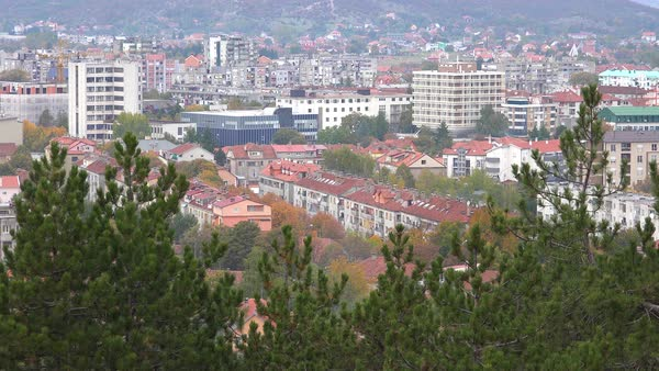 Establishing shot of the town of Niksic in Montenegro. Royalty-free stock video