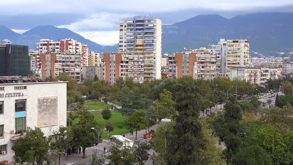 Skyline shot of apartments and businesses in downtown Tirana, Albania. Royalty-free stock video