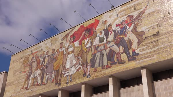 Revolutionary mural depicts peoples revolution and Communist values in Tirana, Albania. Royalty-free stock video