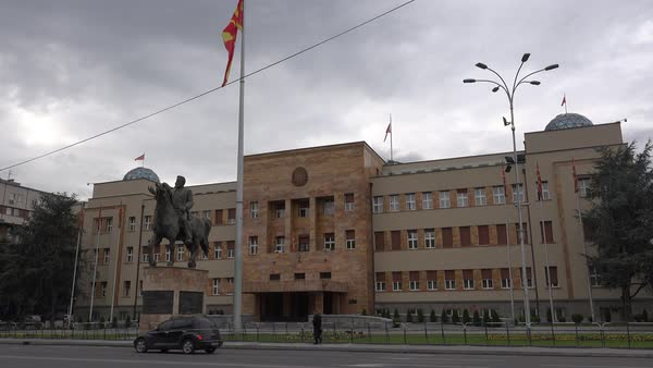 Establishing shot of the Macedonian Parliament in Skopje. Royalty-free stock video