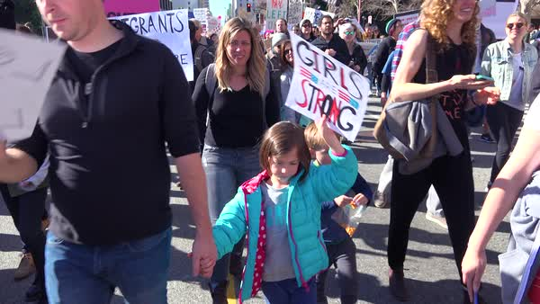 A huge protest against the presidency of Donald Trump in downtown Los Angeles. Royalty-free stock video