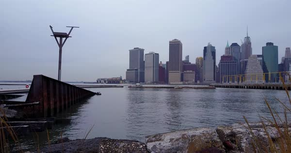 An aerial over the Hudson River towards New York City. Royalty-free stock video