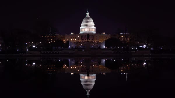 Night shot of the capital dome in Washington D.C. Royalty-free stock video