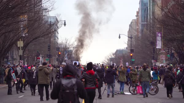 Violence erupts at Donald Trump's inauguration in Washington D.C. Royalty-free stock video