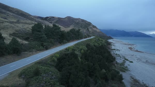 Aerial shot of a coastal road in New Zealand Royalty-free stock video