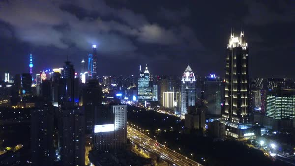 Aerial shot of Shanghai cityscape at night Royalty-free stock video