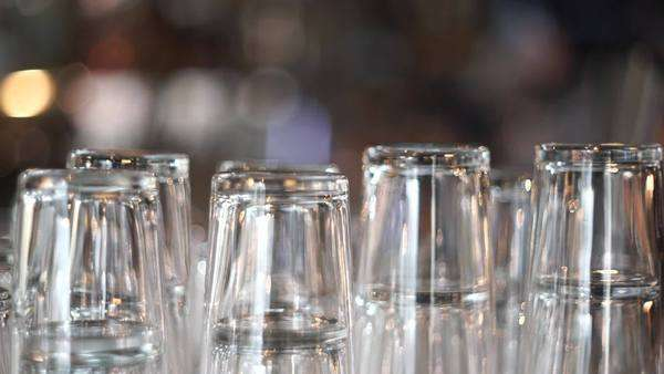 Medium shot of glasses in a bar Royalty-free stock video