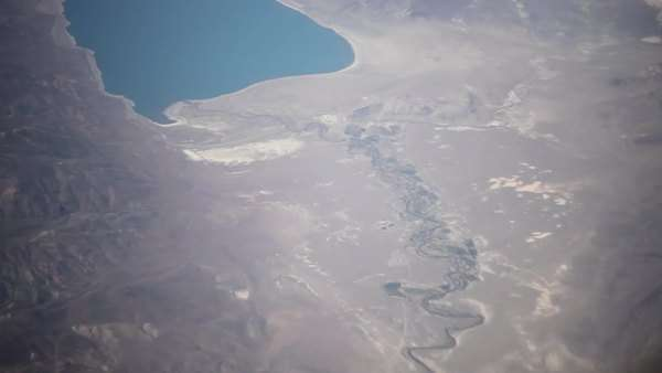 Aerial shot of river and lake seen from airplane Royalty-free stock video