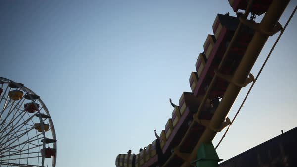 Handheld shot and low angle view of a roller coaster ride Royalty-free stock video