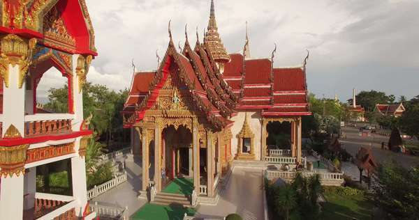Stunning aerial shot of Wat Chalong temple in Phuket, Thailand  Royalty-free stock video