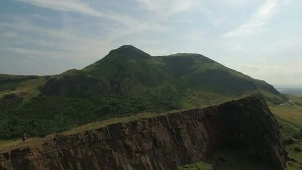 Aerial shot of Arthur's Seat, Edinburgh, Scotland from Calton Hill Royalty-free stock video