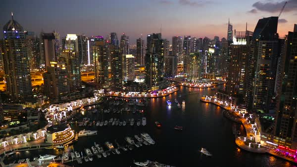 View over Dubai Marina at dusk, Dubai. Royalty-free stock video