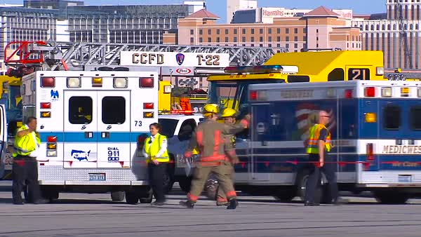 A mass casualty exercise at an airport features victims of terrorism lying on the tarmac. Royalty-free stock video