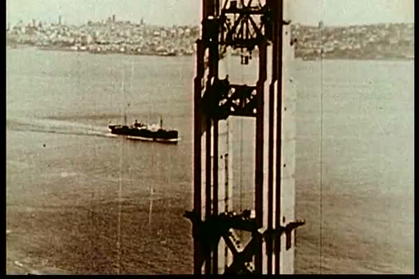 In November 1934, the North Tower of the Golden Gate Bridge is essentially completed, and construction begins on the South Tower. Royalty-free stock video