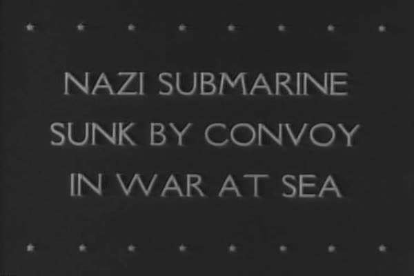 An Allied Convoy sinks a Nazi submarine in the North Atlantic during WWII. Royalty-free stock video