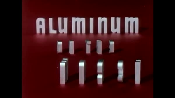 Stop motion and live action 1956 promotional film extoling the many uses of aluminum and describing the aluminum mining and manufacturing process.  Royalty-free stock video