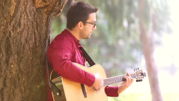 Young man playing acoustic guitar leaning against a tree in the park Royalty-free stock video