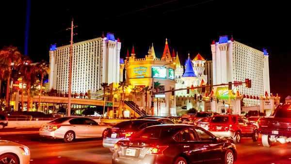 Hyperlapse of Excalibur Casino at night in Las Vegas,  Nevada,  USA Rights-managed stock video