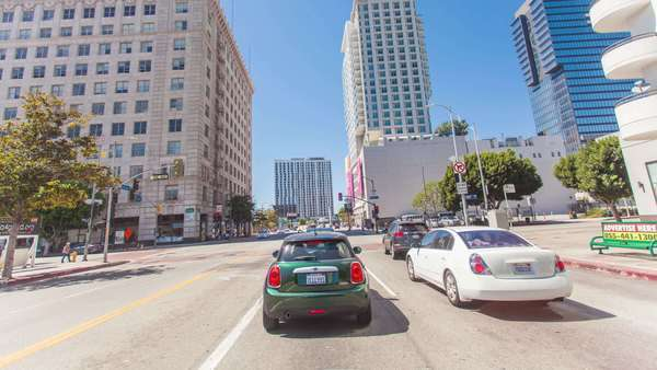 Hyperlapse of cars on a road in Los Angeles, California, USA Rights-managed stock video