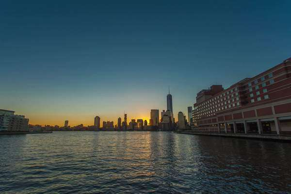 Hyperlapse shot of sunrise above Lower Manhattan Rights-managed stock video