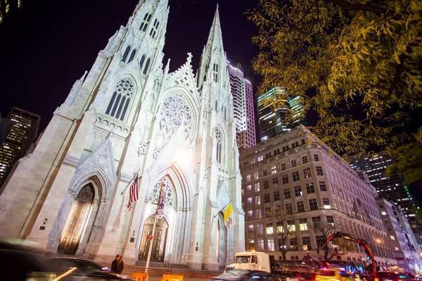 Hyperlapse shot of St. Patrick's Cathedral in Midtown Manhattan Rights-managed stock video